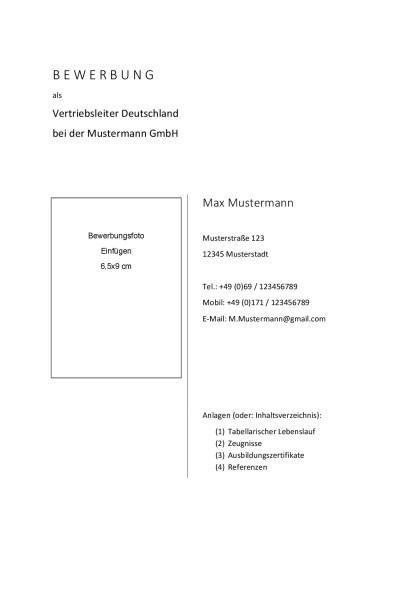 Lebenslauf Deckblatt Vorlagen