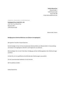 Vorlage Kündigungsschreiben 1