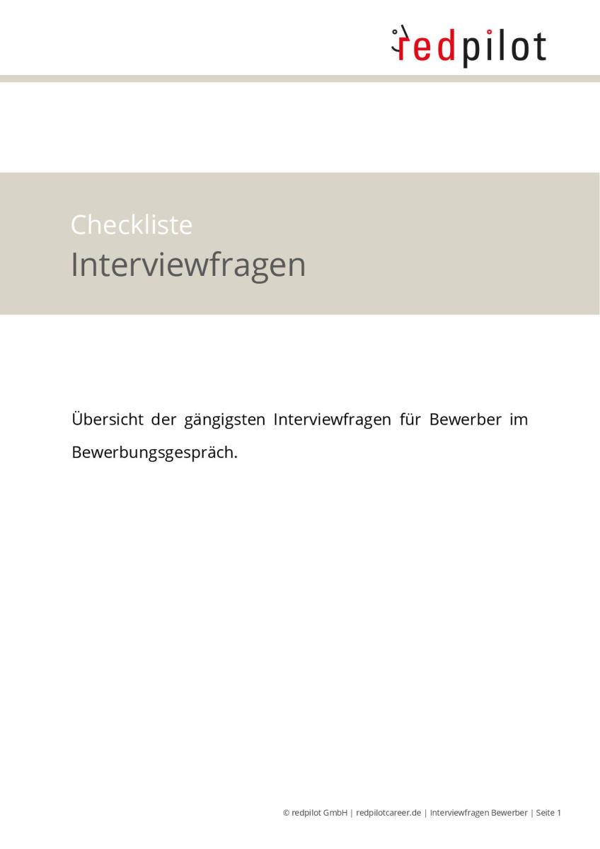 Checkliste Interviewfragen an Bewerber