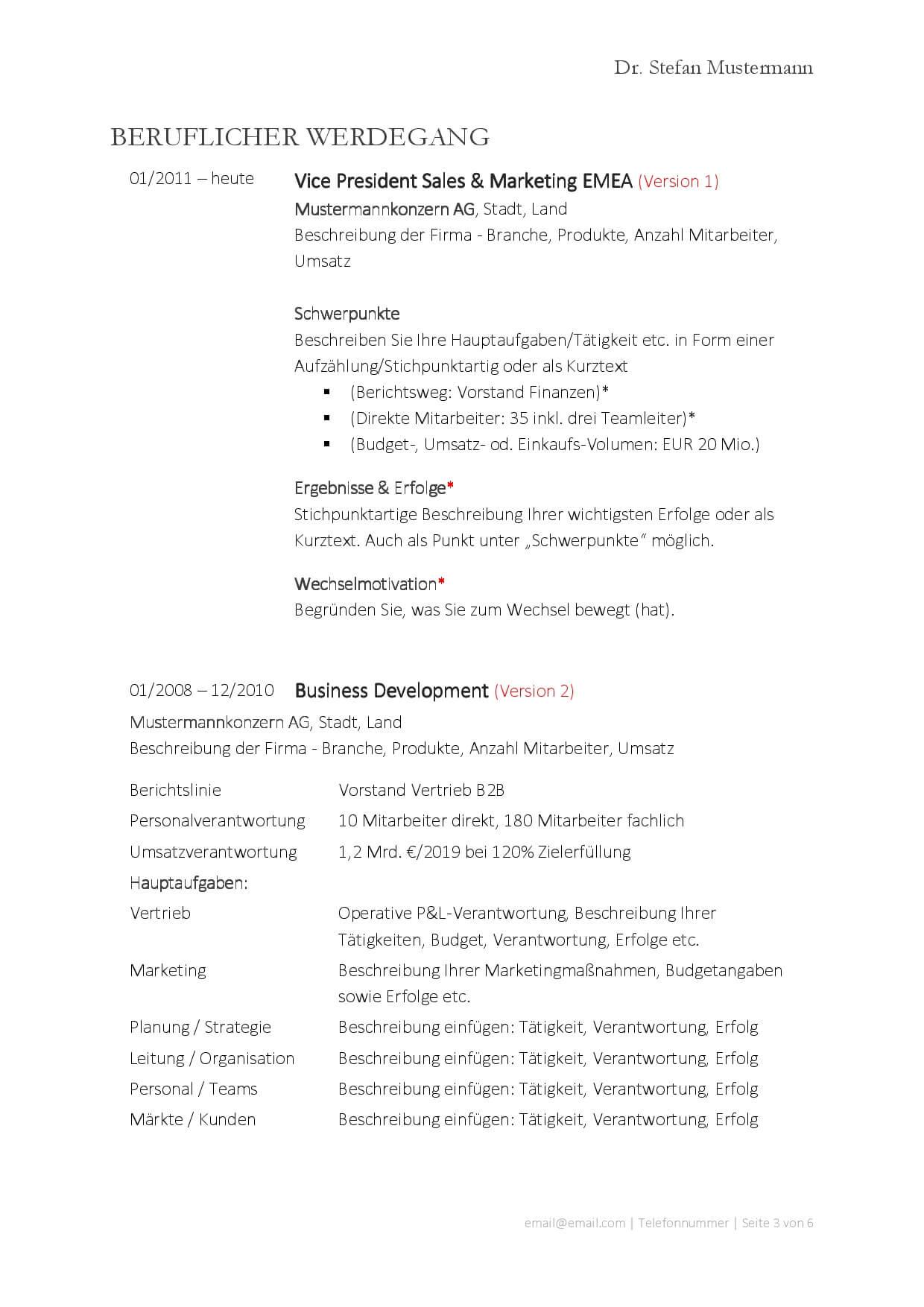 redpilot Lebenslauf Vorlage CV_006 basic