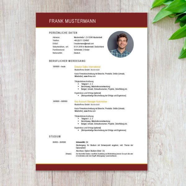 CV Lebenslauf Berlin Executive RUBY RED