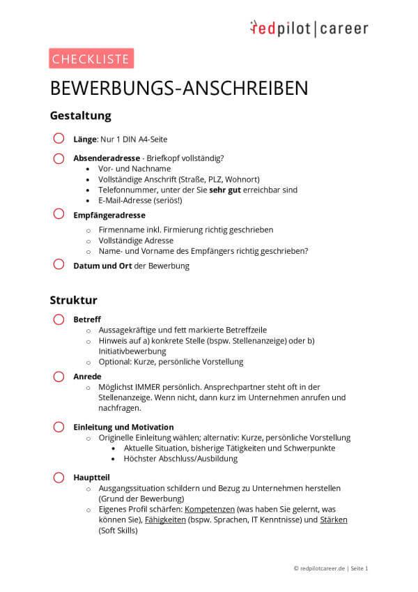 checkliste - Bewerbungs-Anschreiben